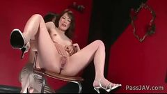 Tomoka Sakurai in pink satin fingered until she gushes pussy juice.