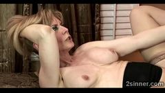 Big stacked MILF teaches her step son and gf to fuck