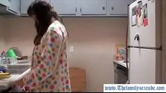 Hot milf mother fucking her son in the kitchen after breakfast--Thefamilysextube.com