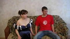 Hot Russian mommy fucking with her son on sofa