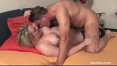 Chesty german cutie riding a hard boner