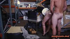 Blonde milf gets slammed in storage room
