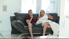 Horny stepmom Kagney Linn Karter fucks his stepson while dad is sleeping